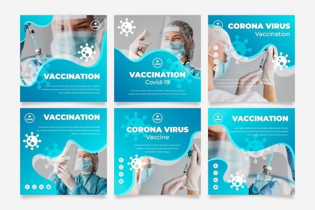 Verloopvaccin instagram-bericht ingesteld met foto's
