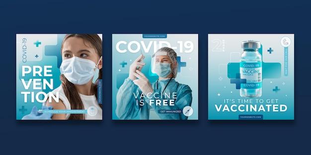 Verloopvaccin instagram-post ingesteld met foto's