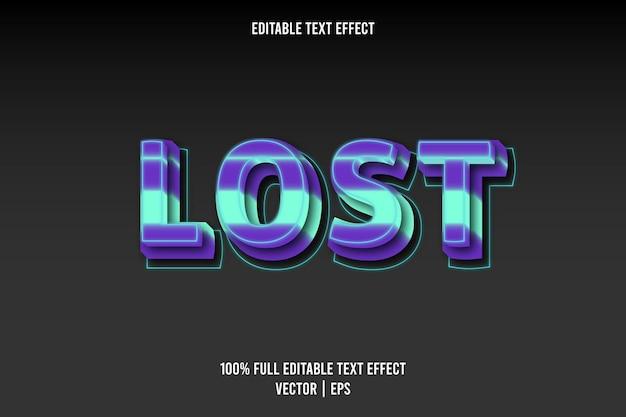 Verloren bewerkbare teksteffect blauwe en cyaan kleur