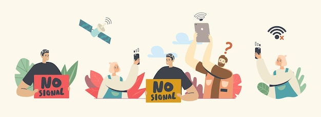 Verloren draadloze verbinding, geen wifi-signaaltechnologieconcept. personages gebruiken wifi en satelliet om op internet te surfen in de gratis wifi-hotspotzone, online openbare toegang. cartoon mensen vectorillustratie
