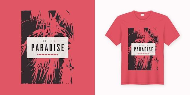 Verloren in het paradijs. stijlvol t-shirtontwerp