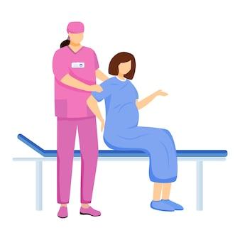 Verloskundige en zwangere vrouw vlakke afbeelding. bevalling in het ziekenhuis. gynaecoloog, verloskundige met patiënt. prenatale zorg. arts in roze uniforme stripfiguren geïsoleerd op wit