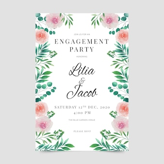 Verloving uitnodiging sjabloon floral stijl