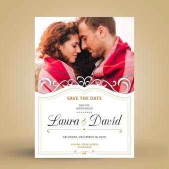 Verlovingskaartsjabloon met afbeelding