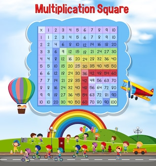 Vermenigvuldigingsvierkant met spelende kinderen