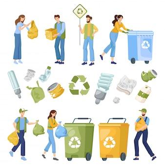 Verminder, hergebruik en recycle objecten. mensen stoppen afval in containers, verzamelen en sorteren afval. milieuvriendelijke levensstijl.