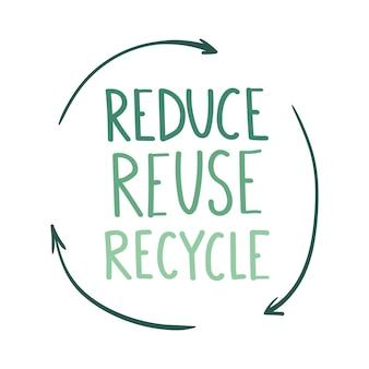 Verminder hergebruik recycle belettering milieubescherming pictogram geïsoleerd op een witte achtergrond