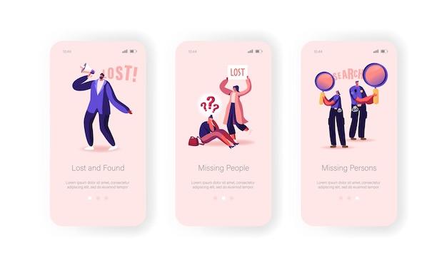 Vermiste mensen verloren in menigte mobiele app-pagina onboard-schermsjabloon