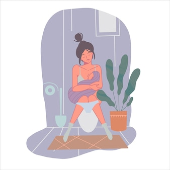 Vermoeide alleenstaande moeder geeft haar baby borstvoeding. e.