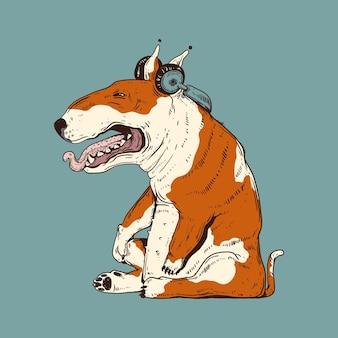 Vermoeide hond die naar ontspannende muziek luistert