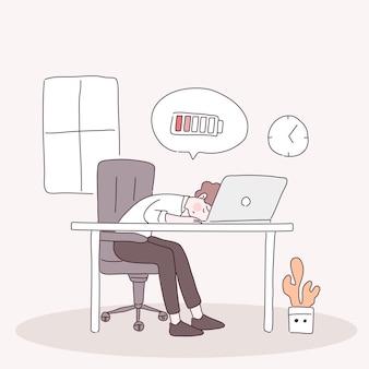 Vermoeide kantoormedewerker zittend op de stoel, met batterij bijna leeg