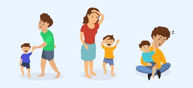Vermoeide ouder met hun kinderen conceptontwerp illustratie