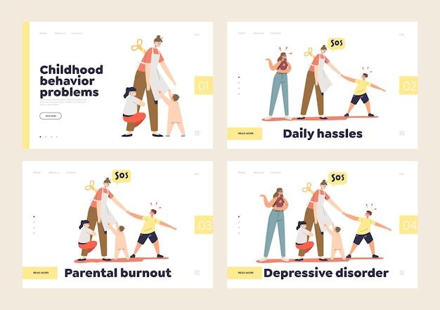 Vermoeide ouders burn-out, depressie en stoornis concept