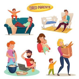 Vermoeide ouders geïsoleerde decoratieve elementen