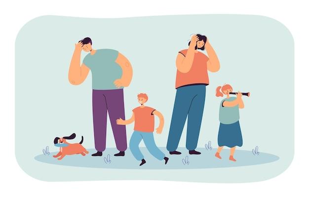 Vermoeide ouders kijken naar gelukkige kinderen geïsoleerde vlakke afbeelding.