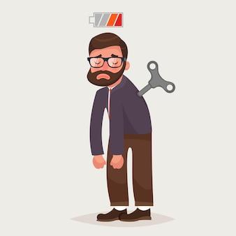 Vermoeide zakenman met clockwork-sleutel en lege batterij