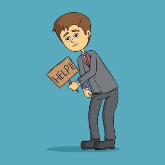 Vermoeide zakenman van hard werken met een bord met helpwoord