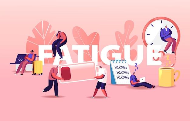 Vermoeidheid illustratie. kleine karakters bij enorme koffiekop, vloeibare horloges van salvador dali, lage batterijspanning en blad met slaapschrift