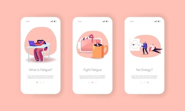 Vermoeidheid, lage energie en werkende burn-out mobiele app-pagina onboard-schermsjabloon