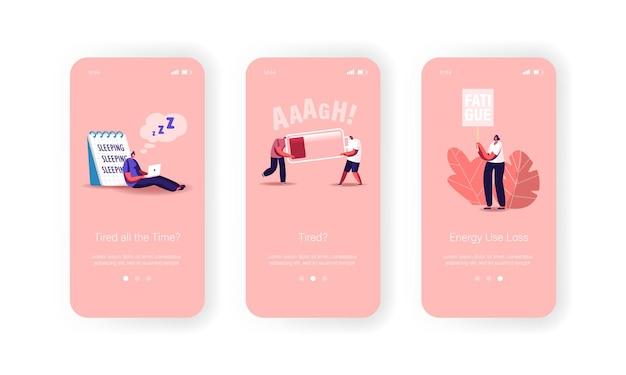 Vermoeidheid mobiele app-pagina onboard-schermsjabloon