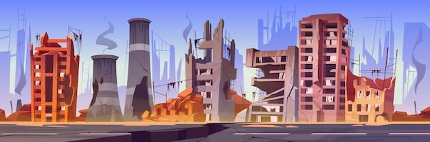 Vernietigde gebouwen op straat na oorlog