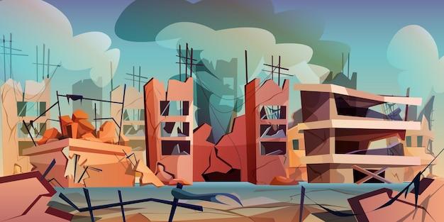 Vernietigde stad na oorlog of natuurramp in cartoonstijl