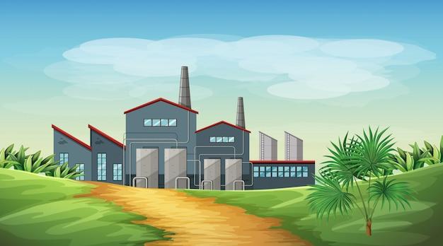 Verontreiniging van de scène van het fabrieksthema in aard