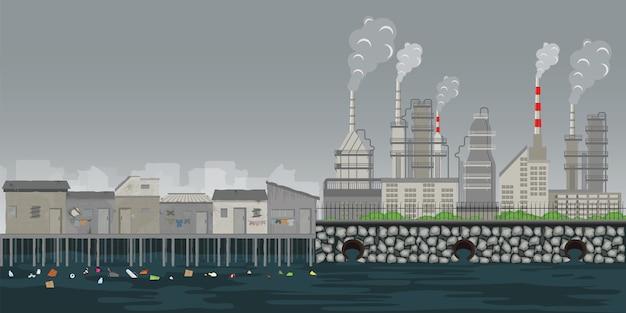 Verontreinigingsomgeving plant pijp vuil afvallucht en water vervuild milieu.