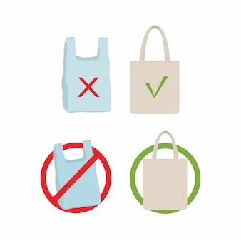Verontreinigingsprobleem concept. zeg nee tegen plastic tas
