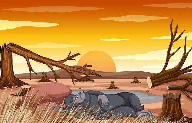 Verontreinigingsscène met aap en ontbossing