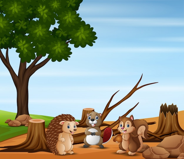 Verontreinigingsscène met veel dieren en ontbossing