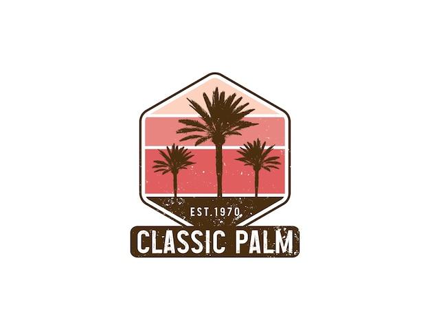 Verontrust vintage logo-badgeontwerp met palmboom