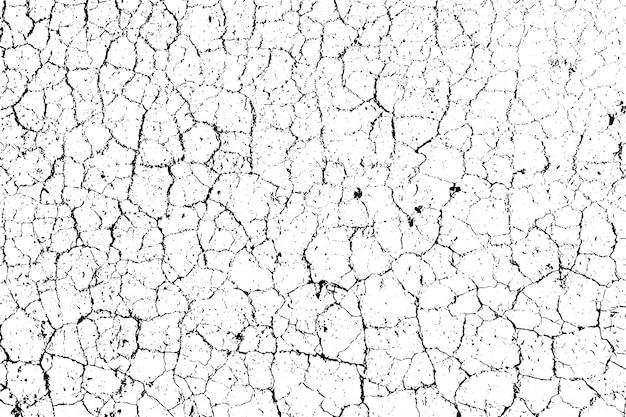 Verontruste overlay textuur van ruw oppervlak, droge grond, gebarsten grond. grafische bron in één kleur.