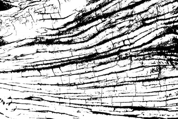 Verontruste overlay textuur van ruw oppervlak, oude boomstronk met scheuren, ringen op boom. grunge achtergrond. grafische bron met één kleur.