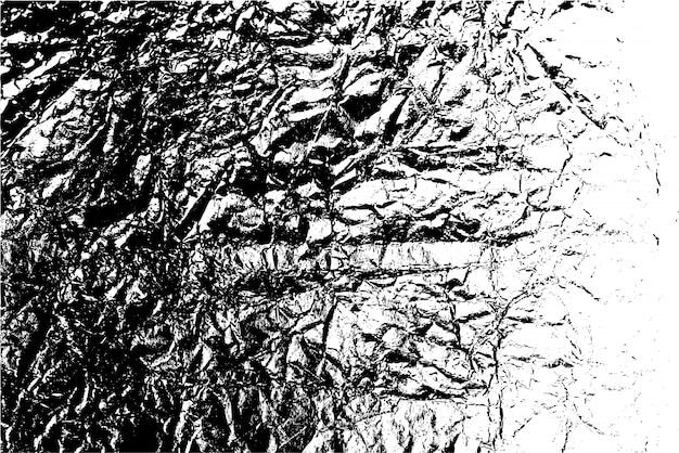 Verontruste overlay textuur van ruw oppervlak, verfrommelde folie, scheuren en vouwen. grunge achtergrond. grafische bron met één kleur.