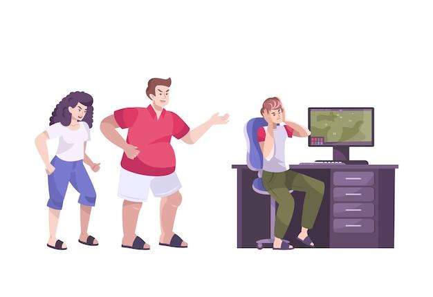 Verontruste tieners platte compositie met boze ouders die schreeuwen tegen gamende zoon op de computer