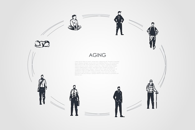 Veroudering van verschillende stadia van de leeftijd van de mens vanaf het begin