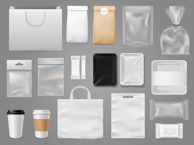 Verpakken van voedselcontainer, thee en papieren zak voor branding coffeeshop