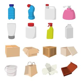 Verpakking cartoon pictogrammen instellen voor web en mobiele apparaten