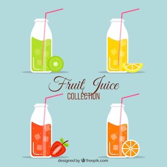Verpakking flessen met vruchtensappen