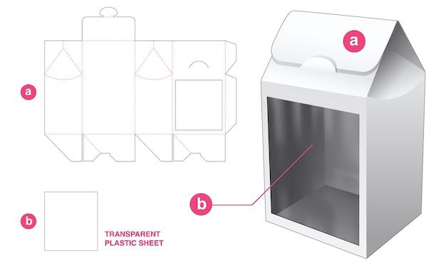Verpakking flip bag doos met doorzichtige plastic vel gestanste sjabloon