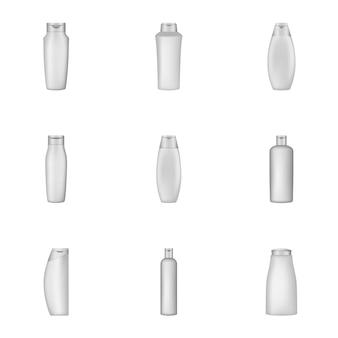 Verpakking shampoo iconen set, cartoon stijl