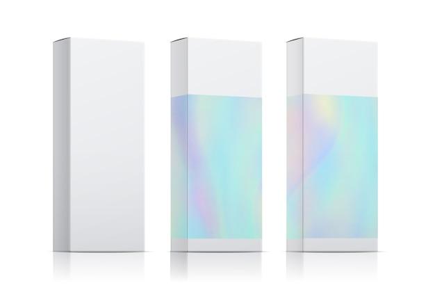 Verpakking sjabloon vector set met holografisch effect. realistische doosverpakking geïsoleerd op een witte achtergrond