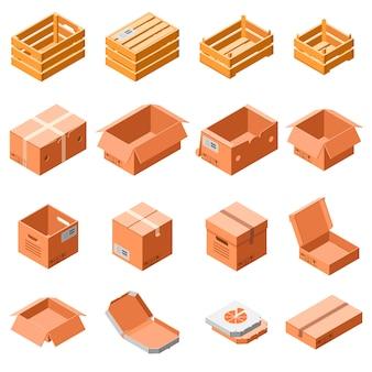 Verpakking vak pictogramserie. isometrische 3d reeks vectorpictogrammen van de verpakkingsdoos voor geïsoleerd webontwerp