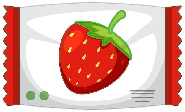 Verpakking van aardbeiensnoepjes geïsoleerd
