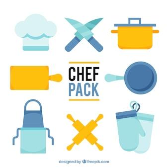 Verpakking van blauwe en oranje chef-kok elementen