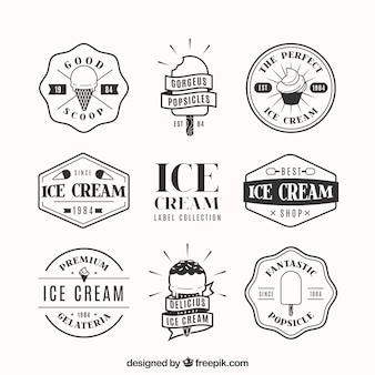 Verpakking van decoratieve badges met ijsjes in platte vormgeving