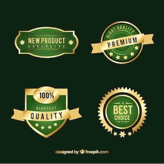 Verpakking van groene en gouden premium stickers
