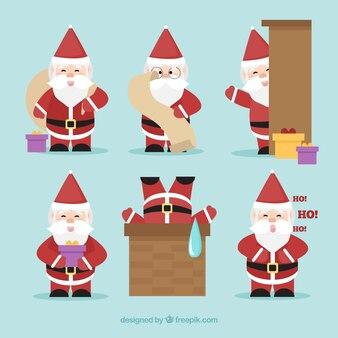 Verpakking van kerstman karakters met accessoires