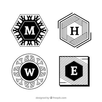 Verpakking van vier abstracte monogrammen